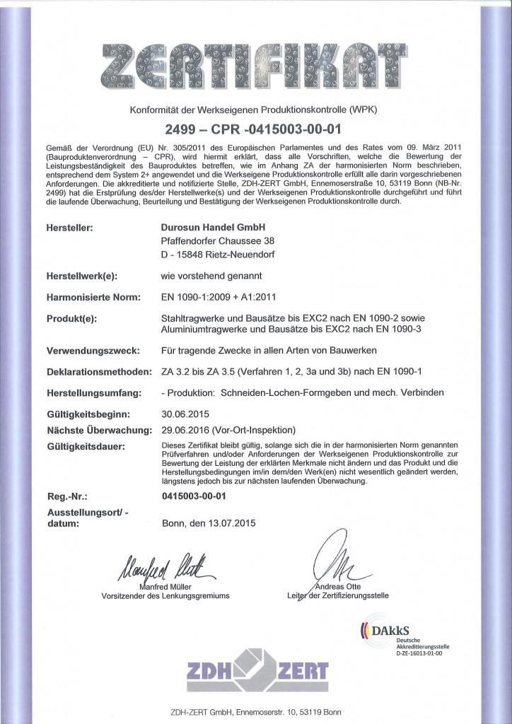 DIN EN 1090 Zertifizierung - DUROSUN